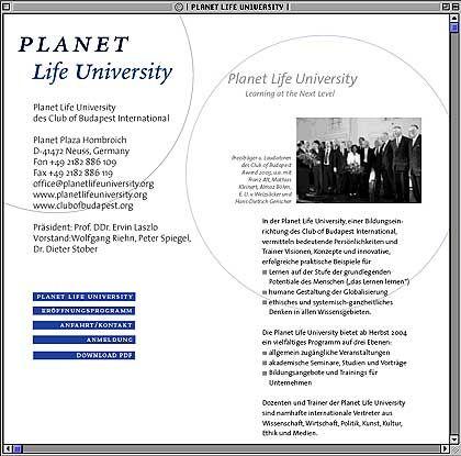 """Homepage der Planet Life University: """"Keine Universität im herkömmlichen Wortsinne"""""""