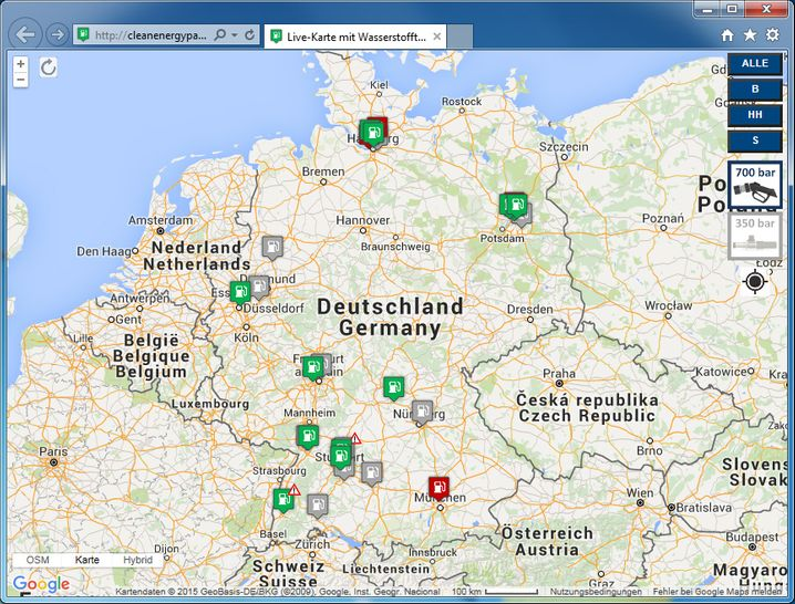 Dünnes Netz: Wasserstofftankstellen in Deutschland