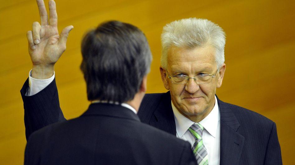 Kretschmann beim Amtseid: Deutschlands erster grüner Regierungschef