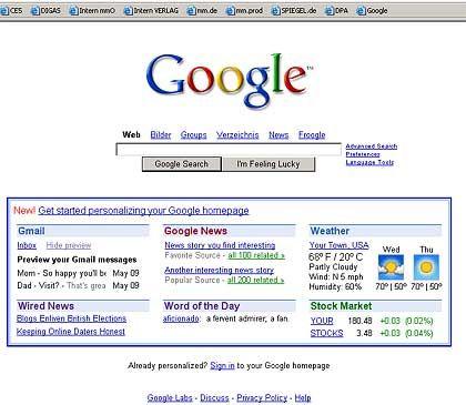 Nachrichten, Wetter und Börsenkurse: Google bietet Personalisierungs-Tool