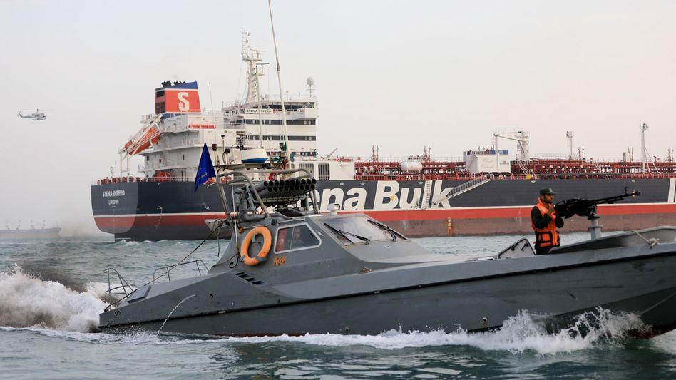 Blockierte Passage: Vom Iran festgesetzter britischer Öltanker im Golf.