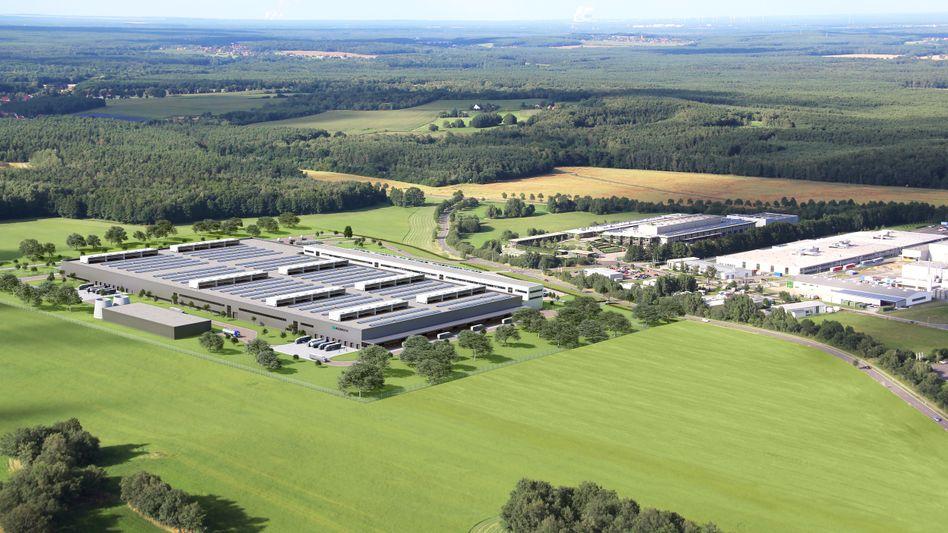 Geplante Batteriemodul-Fabrik von Daimler in Kamenz (Sachsen)