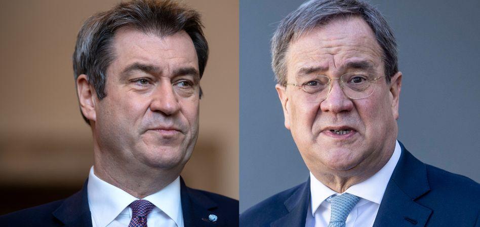 Kontrahenten um die CDU-Kanzlerkandidatur: Bayerns Ministerpräsident Markus Söder und CDU-Parteichef Armin Laschet
