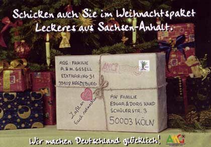 Ostpakete für den Westen: Weihnachtsgeste und Reklame für Lebensmittel aus Sachsen-Anhalt