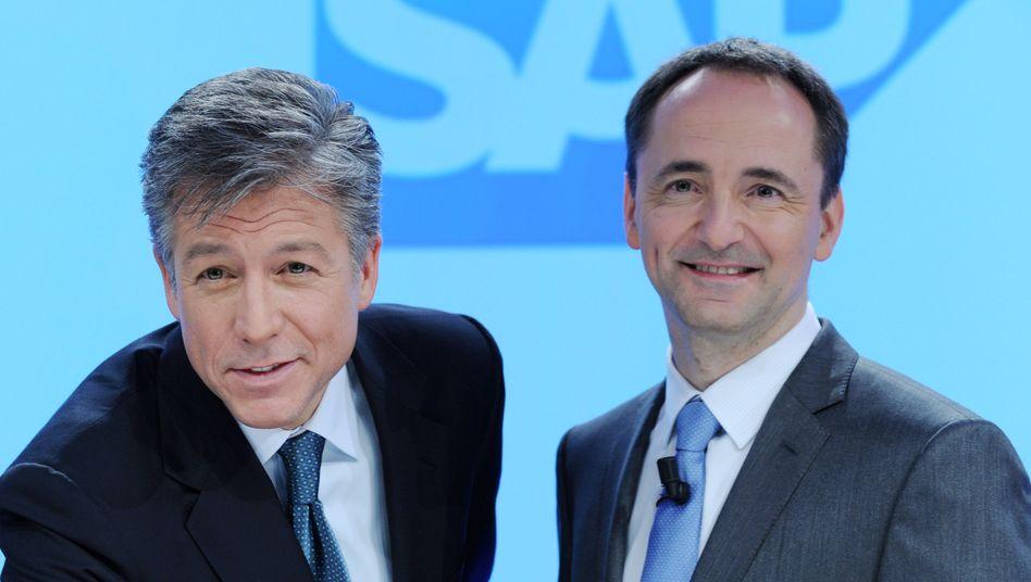 Zuversichtlich: Die beiden Vorstandsvorsitzenden von SAP, Bill McDermott (l) und Jim-Hagemann Snabe