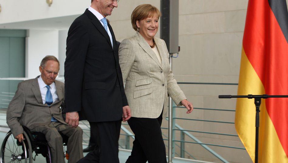 Selten einig: FDP-Chef Westerwelle, Finanzminister Schäuble (links)