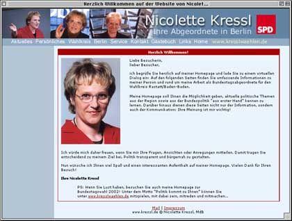 eCandidate 2002: Bundestagskandidatin Nicolette Kressl hat die beste Website