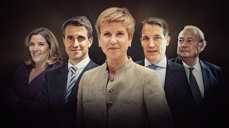 Deutscher Geldadel: Yvonne Bauer, Stefan Quandt, Susanne Klatten, Oliver Samwer, Heinz Hermann Thiele (v. l. n. r.)