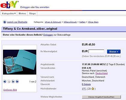 Tiffany-Schmuck bei Ebay: Der Juwelier ist für den Schutz seiner Marke selbst verantwortlich