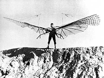 Technische Wagnisse: Deutschland könnte es dafür bald an Fachwissen mangeln. Im Bild Flugzeugpionier Otto Lilienthal bei einem Gleitversuch
