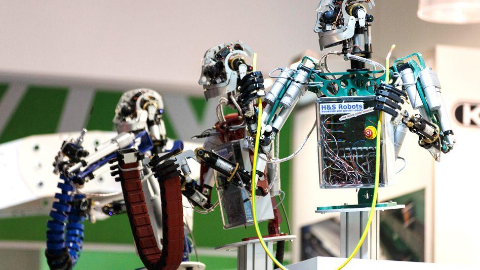 """Roboter auf der """"Hannover Messe"""": Bei der Vernetzung von Maschinen will sich Deutschland nicht von den USA abhängen lassen"""