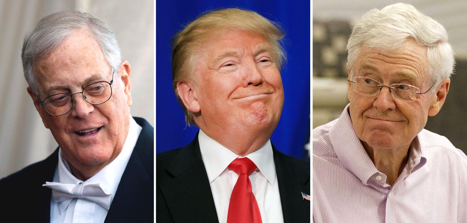 EINMALIGE VERWENDUNG KOMBO David Koch / Donald Trump / Charles Koch