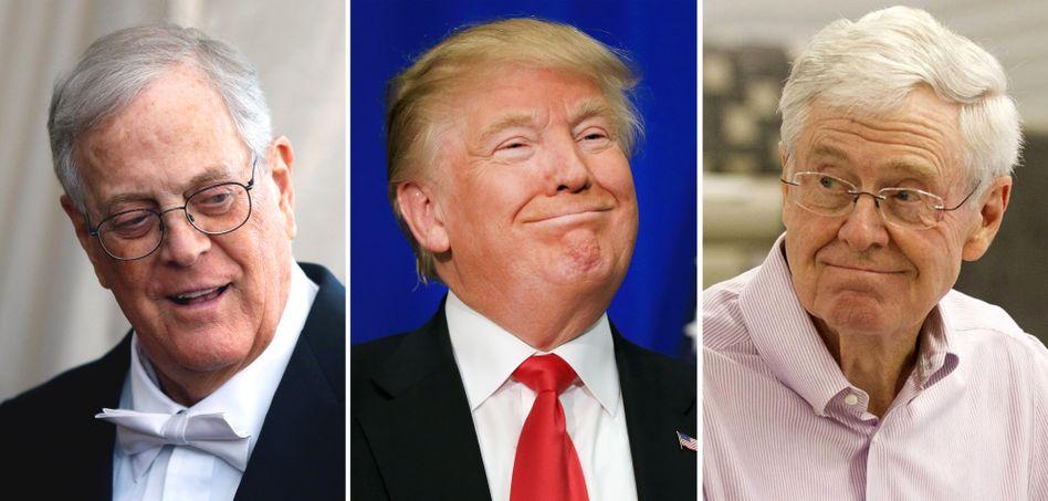 Geld hilft ihnen dieses Mal nicht weiter: Die reichen Koch-Brüder Charles (l.) und David (r.) Koch verzichten auf eine Kampagne gegen Donald Trump - weil diese keinen Erfolg verspricht