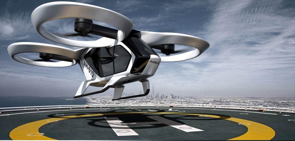 """""""CityAirbus"""" von Airbus: Die elektrobetriebenen, drohnenähnlichen Flugmaschinen sollen eine Alternative im Nahverkehr bieten"""