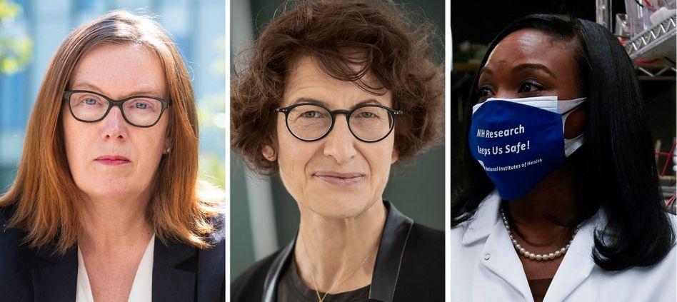 """""""Wir verdanken ihnen viel"""": EU-Kommissionspräsidentin Ursula von der Leyen hebt die Arbeit der drei Wissenschaftlerinnen Sarah Gilbert, Özlem Türeci und Kizzmekia Corbett (von links) im Kampf gegen die Corona-Pandemie hervor."""
