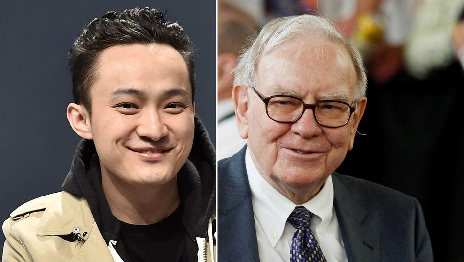 Haben demnächst eine Verabredung: Krypto-Unternehmer Justin Sun (l.) und Starinvestor Warren Buffett
