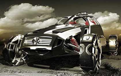 """Mercedes-Benz Mojave-Runner: Böse, bullig, schwarz - dieses Auto wird """"mit allem fertig, was ihm in die Quere kommt"""", prahlen seine Erbauer. Angetrieben wird die Studie von einem Elektro-Gas-Hybridsystem"""