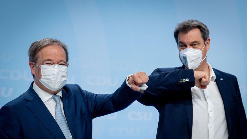Wollen ab jetzt an einem Strang ziehen: CDU-Chef Armin Laschet und CSU-Chef Markus Söder