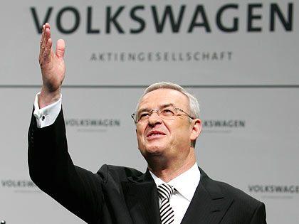 Kann auftrumpfen: Der Volkswagen-Konzern setzte im vergangen Jahr 6,23 Millionen Fahrzeuge und damit mehr als im Vorjahr, gab Vorstandschef Winterkorn in Detroit bekannt.