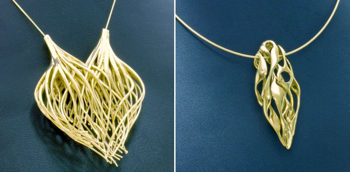 Im 3D-Drucker hergestellte Goldanhänger: Moderne Drucker können auch filigrane Formen herstellen