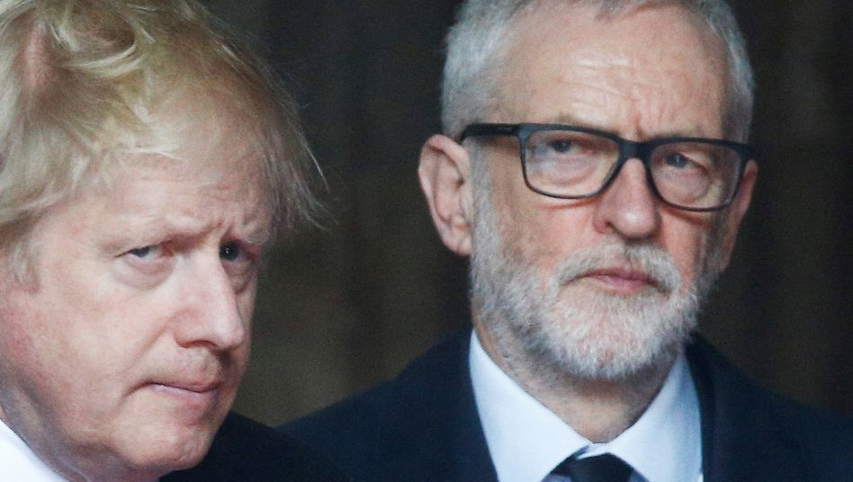 Figuren mit Horrorvisionen: Boris Johnson und Jeremy Corbyn.