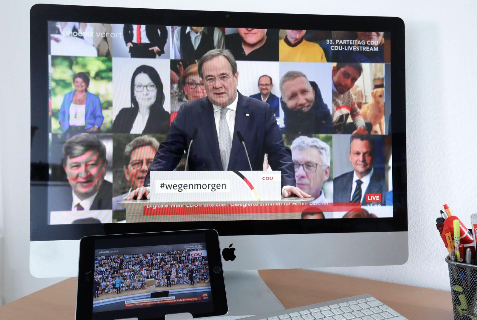 Armin Laschet, neuer Parteivorsitzender der CDU, 33. CDU-Parteitag im Livestream, DEU, Berlin, 16.01.2021 *** Armin Las