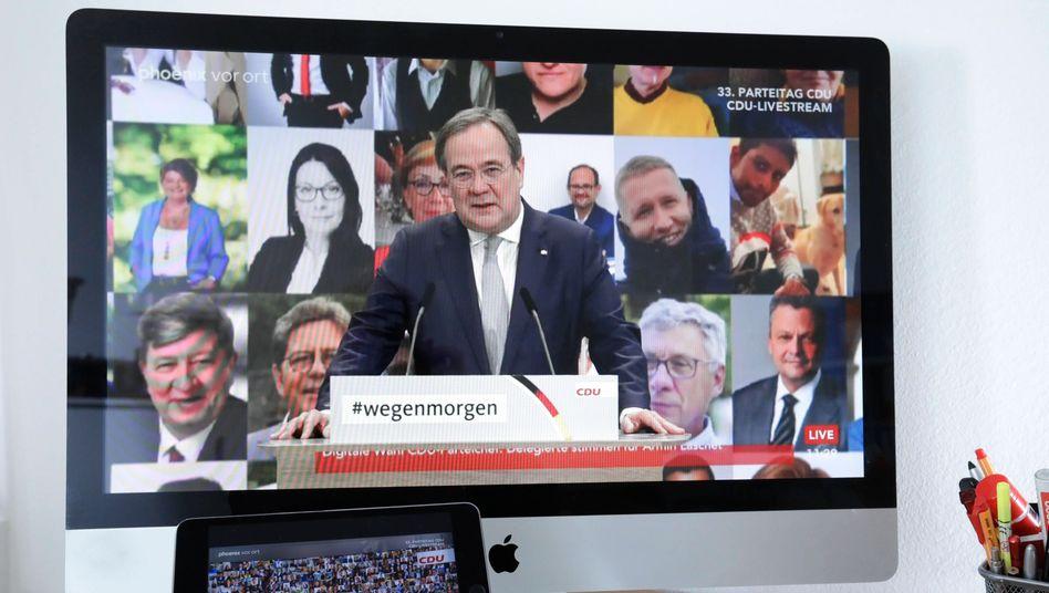 Armin Laschet beim digitalen CDU-Parteitag: Der neue Parteivorsitzende hat Deutschlands Digitalproblem zumindest erkannt