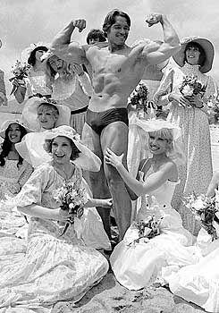 """Arnold Schwarzenegger bei einer Promotion-Veranstaltung für seinen Film """"Pumping Iron"""" (1977). Ob es für die Siegerpose reicht, eine gute Figur zu machen, werden die Kalifornier im Oktober entscheiden."""