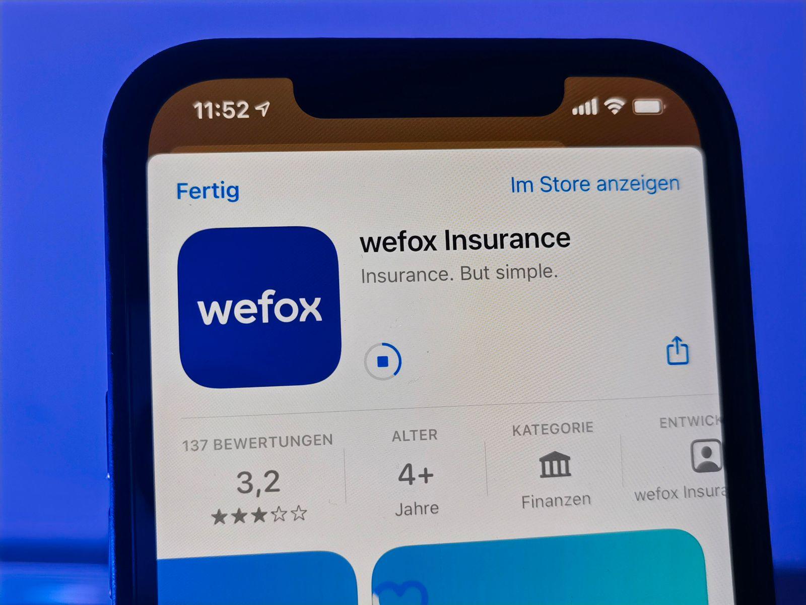 App des Versicherungsunternehmens Wefox