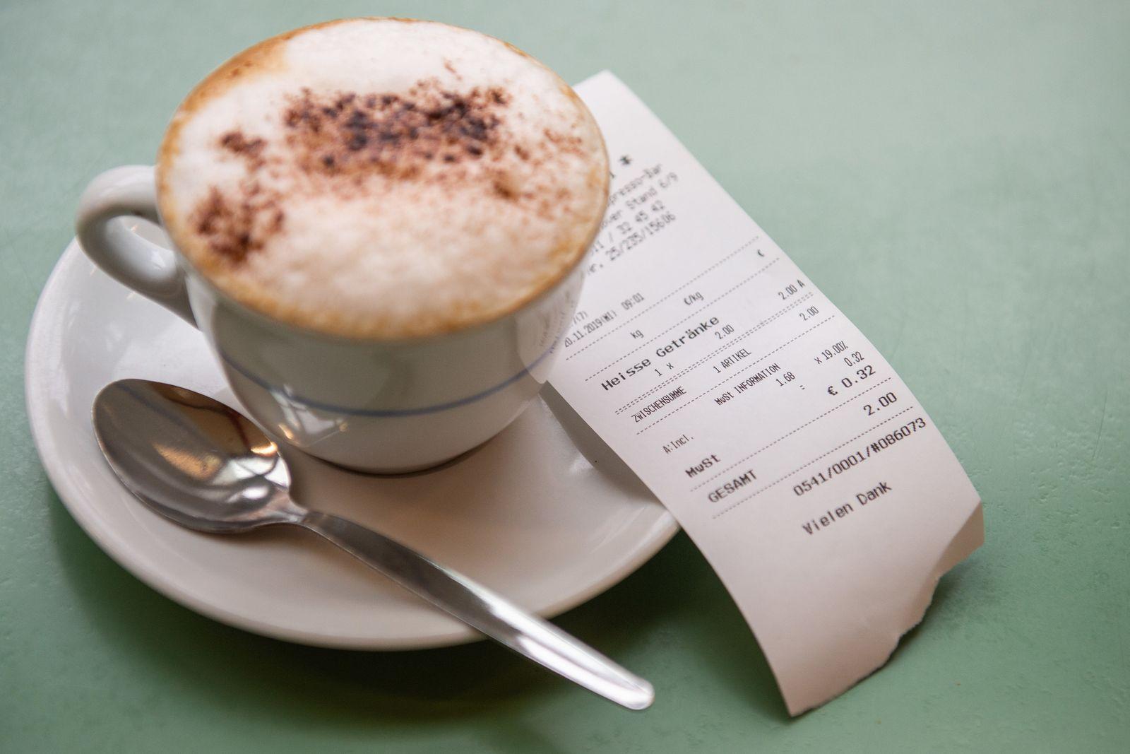 Kassenbon Cappuccino Kassenzettel