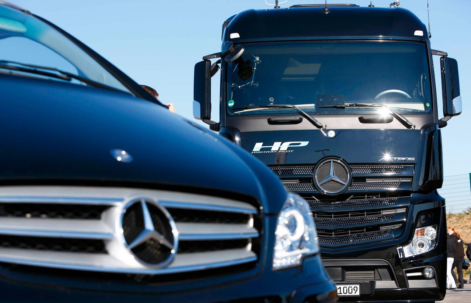 Premiere of Mercedes-Benz autonomous truck Actros driving along public highway between Denkendorf and Stuttgart