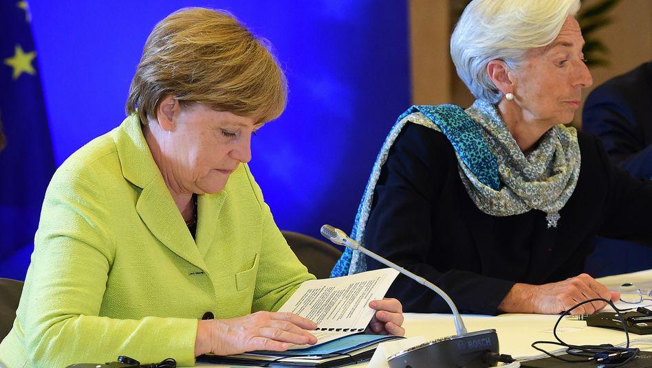 Streit um Schuldenerlass für Griechenland: Bundeskanzlerin Merkel und IWF-Chefin Lagarde.