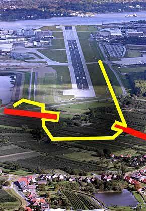 Landgewinn: Mit dem nun verkauften Land ist der eingezeichnete Sicherheitsbereich um die Landebahn möglich. Die Einschnitte links und rechts entstehen durch die Grundstücke (rot) der letzten Widerständler