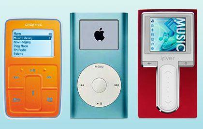 Testkandidaten im Größenvergleich (von links): Creative Zen Micro, Apple iPod mini, iRiver H10