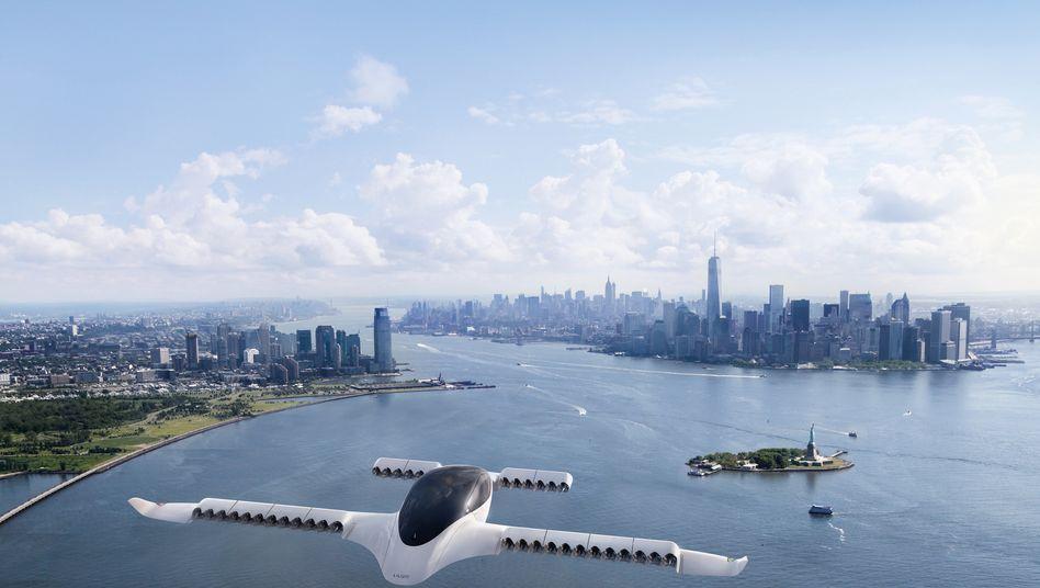 Einsatz über New York - so könnte es vielleicht einmal aussehen. Der Flugtaxi-Prototyp des Herstellers Lilium mit 36 Motoren hat jetzt in bei München seinen Erstflug erfolgreich bestanden. Das Fluggerät soll fünf Menschen transportieren können und angeblich günstiger sein als ein Helikopter
