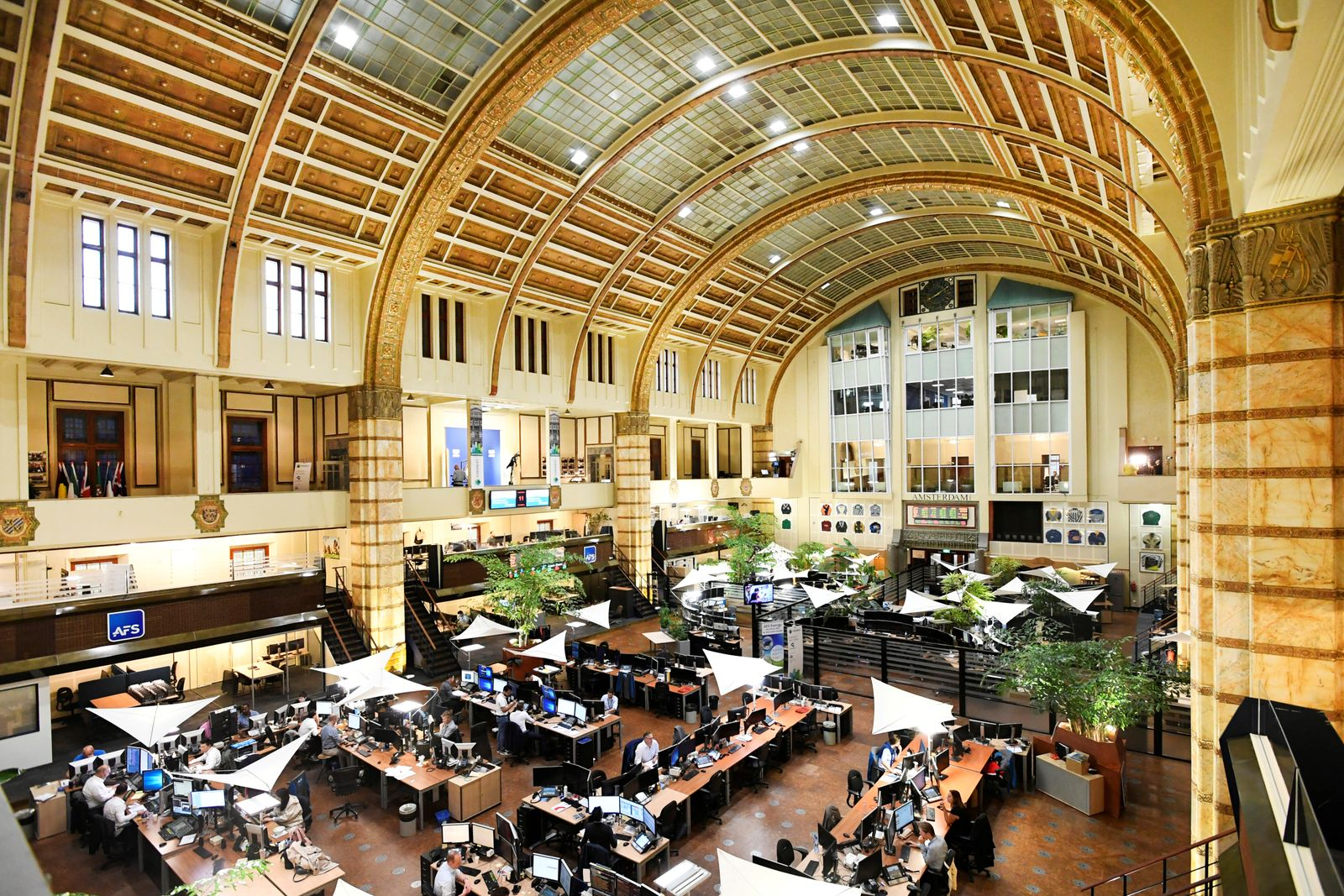 Overview of Amsterdam's stock exchange interior as Prosus begins trading on the Euronext stock exchange in Amsterdam