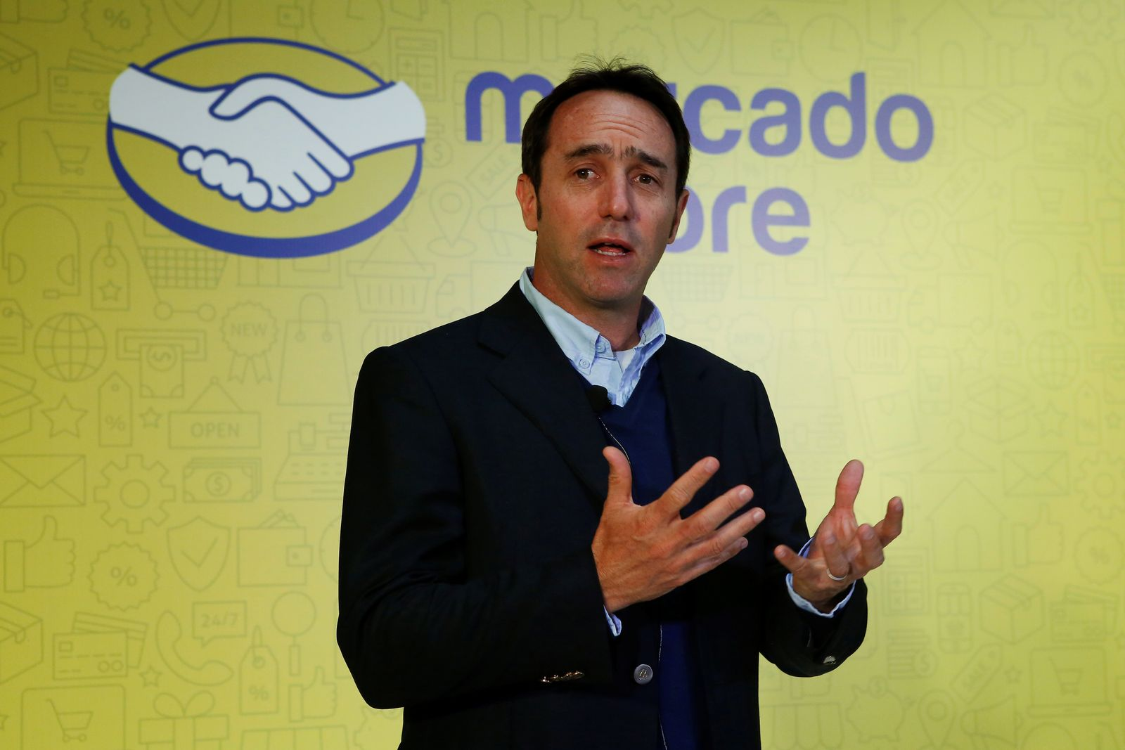 Founder and CEO of e-commerce platform MercadoLibre Marcos Galperin speaks during a news conference in Mexico City