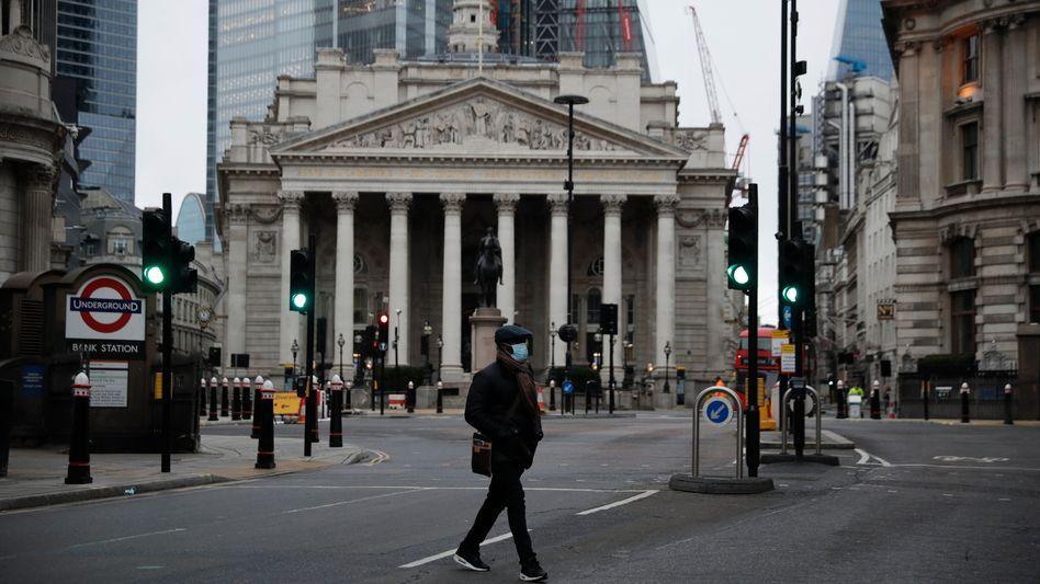 Neue Welt: Das Abkommen mit der EU regelt auch die künftige Dienstleistungswelt. Vor der Royal Exchange in London ist wegen des aktuellen Lockdowns nichts los.