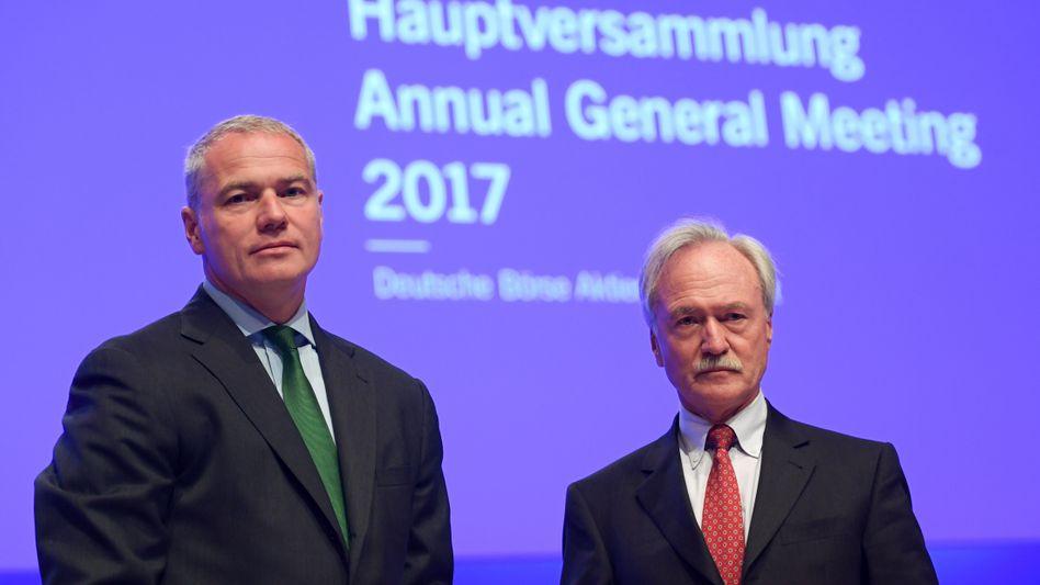 Zu lange gezögert: Joachim Faber, Aufsichtsratschef der Deutschen Börse, mit seinem Bald-Ex-CEO Carsten Kengeter.