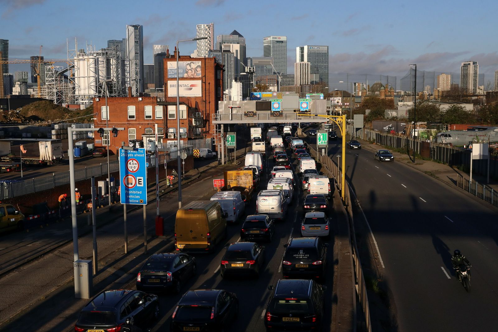 Vehicles sitting in traffic approach the Blackwall Tunnel, in London