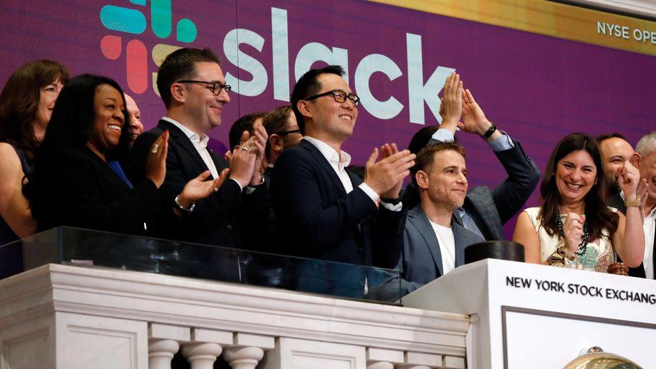 Slack-CEO Stewart Butterfield beim Börsengang an der New York Stock Exchange: 50 Prozent Kursplus gegenüber Ausgabepreis am ersten Tag. Wird Slack zum WhatsApp für Büromitarbeiter?