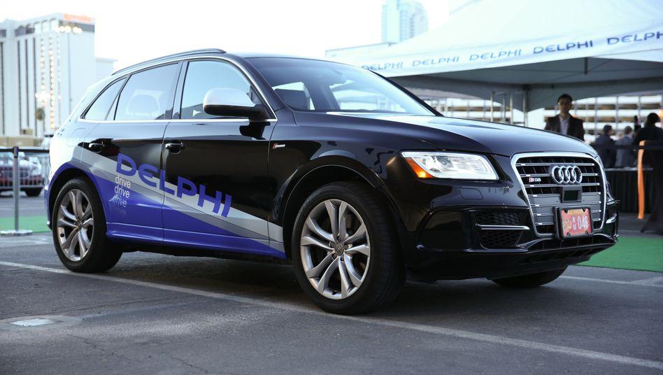 Laser-Sensor, Radar und Kameras: Mit Technik hoch gerüstet ist am Sonntag ein Audi Q5 in San Francisco gestartet. In drei Tagen soll das selbstfahrende Auto nach 5630 Kilometern in New York ankommen