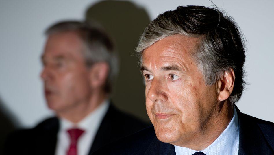 """""""Nach besten Wissen und Gewissen"""": Der ehemalige Vorstandsvorsitzende der Deutschen Bank, Josef Ackermann, beruft sich am dritten Prozesstag wie alle anderen Angeklagten auf eine schwache Erinnerung"""