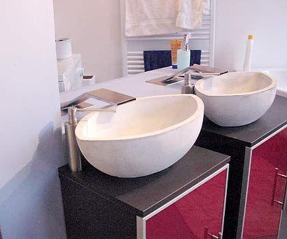 Für ihn und für sie: Ovale Betonwaschbecken