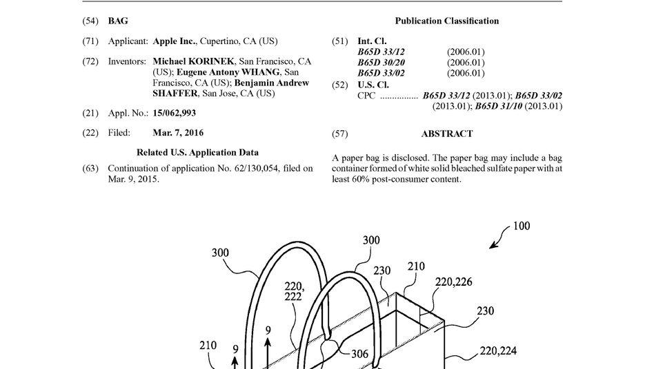 """Sie nennen es """"Bag"""": Zeichnung zu Apple-Patent 20160264304"""