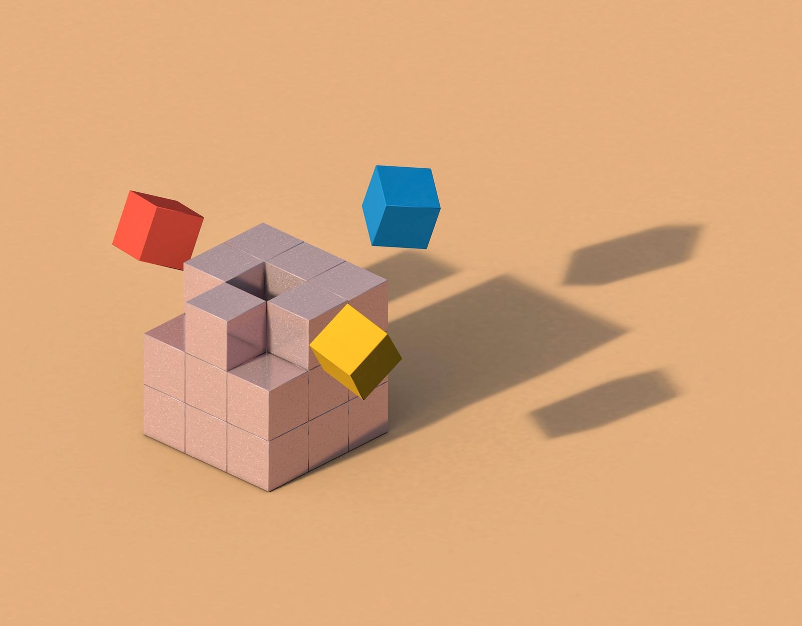 Flying cubes forming anthropomorphic shadow