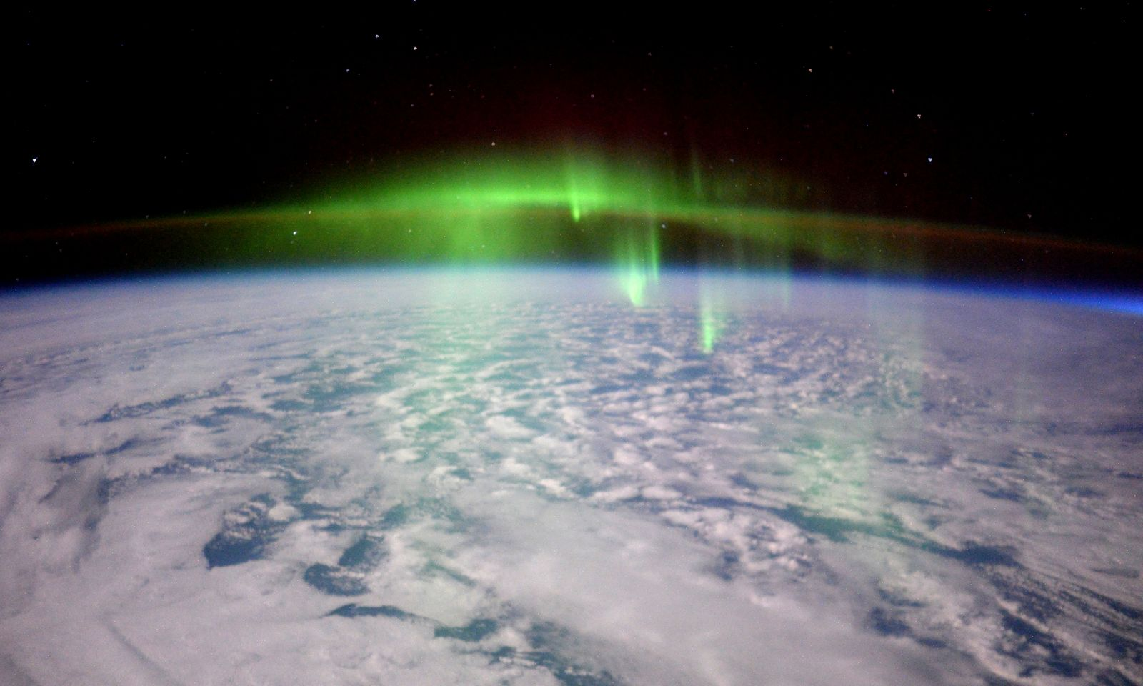 The lights of an Aurora as seen from the International Space Station