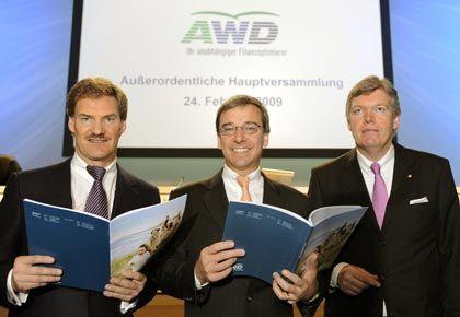 Gespannte Beziehung: AWD-Chef Maschmayer, Swiss-Life-Chef Bruno Pfister und AWD-Co-Chef Manfred Behrens (von links).