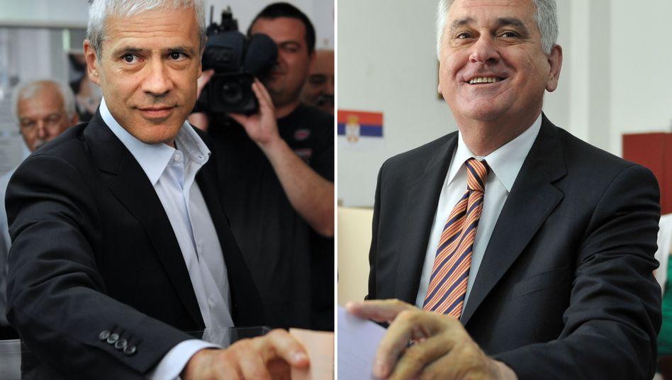 Bis zuletzt Kopf an Kopf: Wahlverlierer Boris Tadic (l.) und Wahlsieger Tomislav Nikolic (r.)