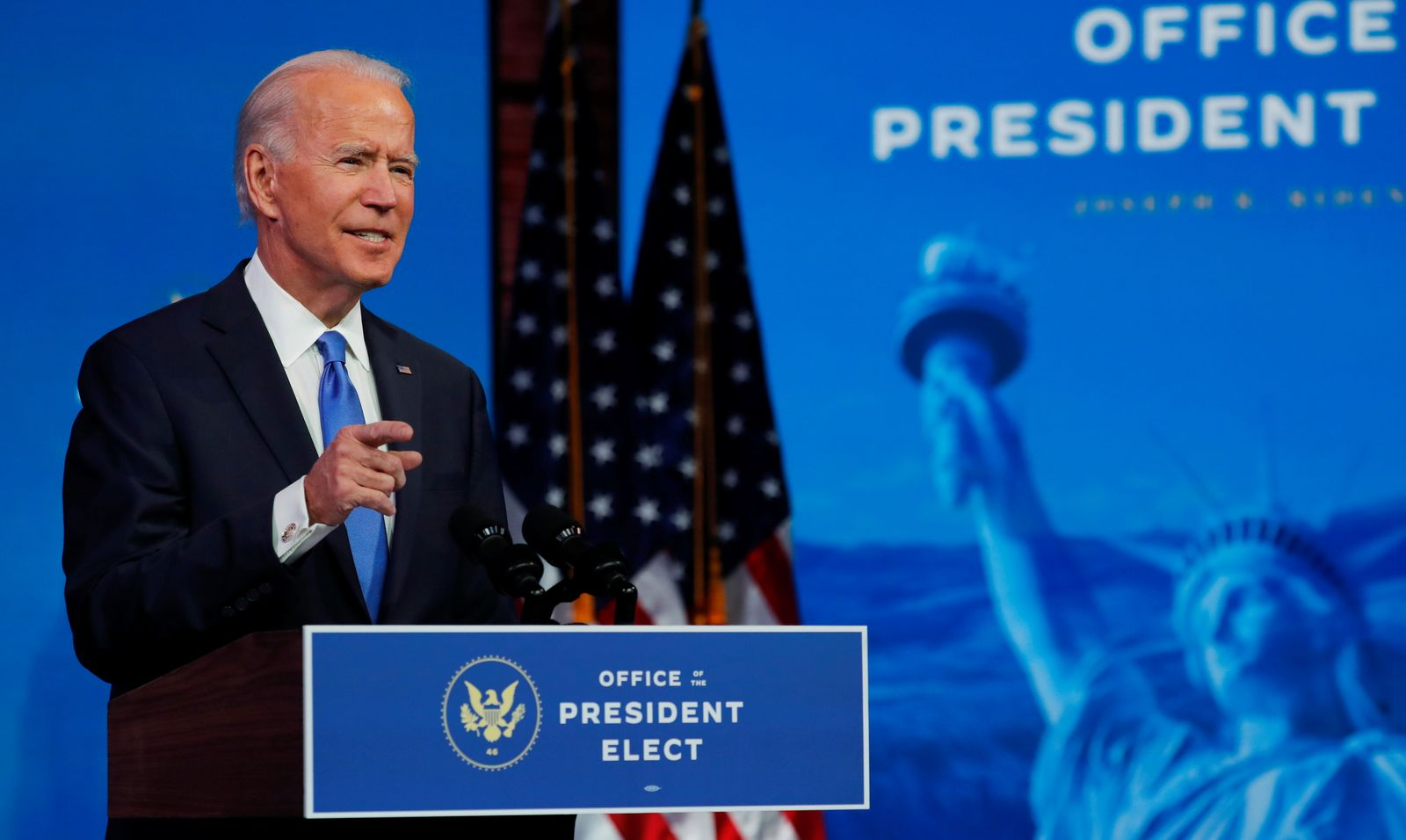 U.S. President-elect Joe Biden delivers a televised address to the nation in Wilmington